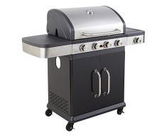 Cookin garden FIDGI 4 Barbecue au Gaz, Noir/INOX, 128,5 x 55,5 x 112 cm