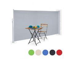 Relaxdays Store latérale extérieur rétractable brise vue jardin terrasse 180 x 300 cm protection UV - gris