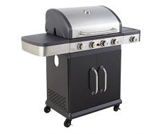 Cookin garden AM064SBI FIDGI 4B+Side Barbecue gaz, Noir/INOX