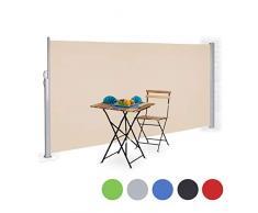 Relaxdays Store latérale extérieur rétractable brise vue jardin terrasse 180 x 300 cm protection UV - beige