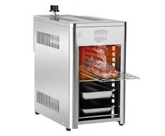 BARBEC-U Haute Puissance 200 à 800°C sur 10 Niveaux de Cuisson, Barbecue de Table au gaz en INOX pour Viande, Poisson, Fruits de mer, légumes, etc