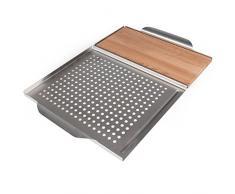 Rustler - Planches à fumer en Bois de Cèdre Canadien 100% original + Grille de cuisson au Barbecue - Planche 2 en 1 à griller avec Plaque de service en Acier inoxydable - 45 x 30 x 3 cm
