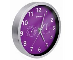 Bresser MyTime Thermo/Hygro Horloge murale en Métal, violet