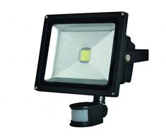 Perel Projecteur LED pour Les aussenbereich avec capteur PIR, 30 W Epistar Chip, 3000 K, 23 x 25 x 13 cm, Noir, leda3003ww/BP