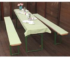beo Tente auflagen Set avec Nappe Carreaux Coussin pour Banc, Env. 220 x 25 x 2,5 cm et 240 x 100 cm, Vert/Blanc/Multicolore