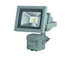 Perel Projecteur LED pour Les außenbereich avec capteur PIR, 10 W Epistar Chip, 3000 K, 12 x 11 x 18 cm, Gris, leda3001ww de GP