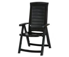 Jardin 212166 Aruba Chaise pliante en plastique avec 4 positions réglables Vert