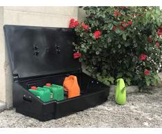 Coffre de rangement multiusage intérieur/extérieur 50L - Couleur : noir - Fabrication française