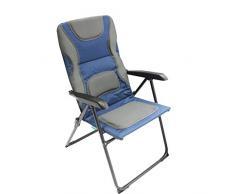 Homecall Chaise de jardin pliable à dossier réglable en maille rembourrée (Bleu/gris)