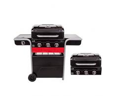 Barbecue hybride Char-Broil Gas2Coal 330 - Barbecue à gaz et charbon à 3 brûleurs, finition noire.