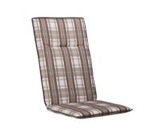 Kettler 0309301-8683 Coussin pour chaise pliante 121 x 50 x 6 cm (Marron/blanc à carreaux) (Import Allemagne)