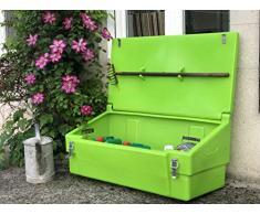 Coffre de rangement multiusage intérieur/extérieur 100L - Couleur : vert anis - Fabrication française