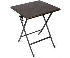 Vanage - Table dappoint - Table de Jardin carrée en Rotin synthétique - Structure en acier - Pliable et ultra compacte - Parfait pour Jardin, Terrasse et Balcon