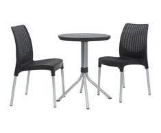 Keter Jersey – Table et chaises de Jardin en rotin, 4 Places Set 2 Places 2 Places Gris