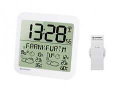 Bresser Station météo LCD Résistant aux intempéries Horloge murale avec 4 jours de prévisions météo et capteur extérieur 22.5 x 22.5 x 2.5 cm Weiß