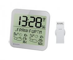 Bresser Station météo LCD Résistant aux intempéries Horloge murale avec 4 jours de prévisions météo et capteur extérieur 22.5 x 22.5 x 2.5 cm Silber
