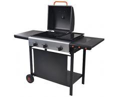 LAGUIOLE 5BBQ054LG Barbecue à Gaz 2-en-1 avec Plancha 133 x 57 x 98 cm