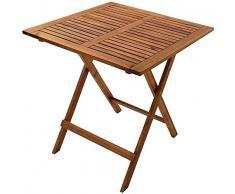 SAM Junado Camelia Table de Balcon Pliante en Bois 62 x 62 cm Idéal pour Le Jardin et Le Balcon, lacacacia Massif huilé