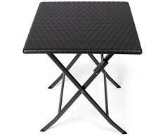 Park Alley - Table dappoint pour extérieur - Table de Jardin carrée en Rotin synthétique - Pliable et ultra compacte - Structure en acier - Parfait pour Jardin, Terrasse et Balcon