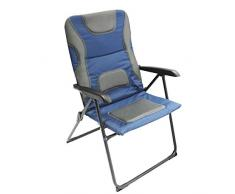 Homecall Chaise de jardin pliable à dossier extra-large réglable en maille rembourrée (Bleu/gris)