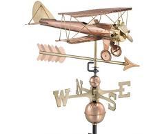 Good Directions Biplan avec flèche Girouette en cuivre Pur Biplan avec flèche Pure Copper