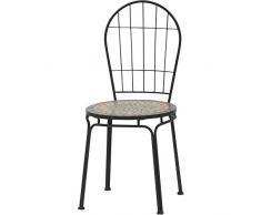 Chaise de jardin//balcon chaise SIENA GARDEN FELINA mosaïque//Argent-Noir