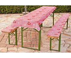 beo Tente auflagen avec Nappe à Carreaux Style Maison de Campagne Coussin pour Banc, Env. 220 x 25 x 2,5 cm et 240 x 100 cm, Rouge/Blanc/Multicolore
