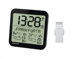 Bresser Station météo LCD Résistant aux intempéries Horloge murale avec 4 jours de prévisions météo et capteur extérieur 22.5 x 22.5 x 2.5 cm noir