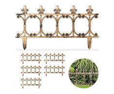 Relaxdays Bordure de Jardin Vintage, Clôture Gazon 6 éléments, H 24 cm, Parterre Massif pelouse, Aspect cuivre