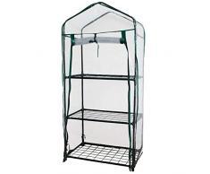 WerkaPro 10450 - Serre de Jardin - Housse transparente 3 niveaux - Dimension : 59 x 39 x 126 cm - Vert