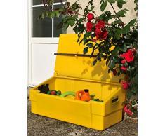 Coffre de rangement multiusage intérieur/extérieur 100L - Couleur : jaune - Fabrication française