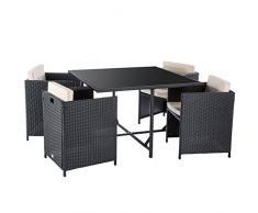 Ultranatura 200100001051 Palma Ensemble de Table + Canapé + 2 Fauteuils avec Coussins en Poly Rotin Noir/Beige 114 x 114 x 73 cm