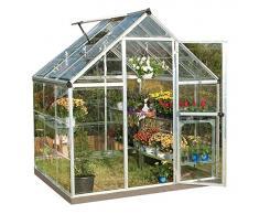 Palram Harmony Serre de Jardin– Polycarbonate Transparent, Cadre en Aluminium, Base Incluse – Argent