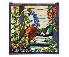 Design Toscano HD103 Panneau Vitrail - Vitrail Peacock Garden Fenêtre Tentures - Rideaux