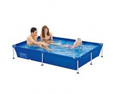 Jilong 6920388627269 Cadre en acier Bac rectangulaire piscine 188 x 127 x 42 cm, passaat Bleu