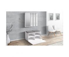 Meuble de couloir Sesley avec armoire, miroir et banc de rangement - Blanc