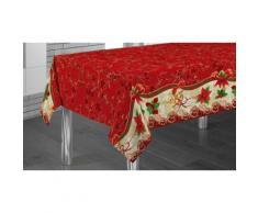 Nappe de table Nol en modle Fleur rouge - 240 x 150 cm