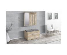 Meuble de couloir Sesley avec armoire, miroir et banc de rangement - Chêne