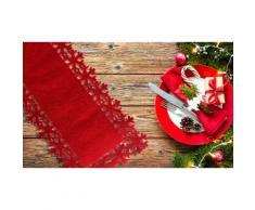 1 chemin de table en feutrine flocon rouge pour Noël