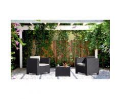 Salon de jardin 2 places effet résine tressée Anthracite