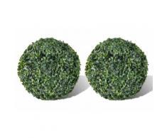 Plantes artificielles en boule 2 pices: 27 cm