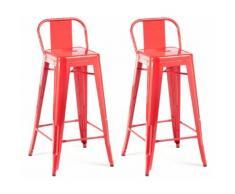 Chaise haute design industriel SAN FRANCISCO (lot de 2) rouge