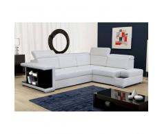 JUSThome ROSSO Canapé d'angle cuir éco 285x220 Blanc