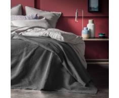 Couvre lit 100% coton, gris souris , piquage plissé Gris Blanc Cerise