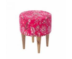 Tabouret bois rond tissu imprimé Rose La Fiancée du Mekong