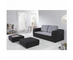 Canape convertible NIGHT AND DAY 3 places 2 poufs assortis 2 coloris au choix