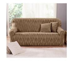 Housse extensible jacquard imprimé fauteuil canapé - chocolat