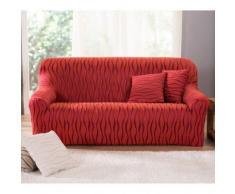 Housse extensible jacquard imprimé fauteuil canapé - terracotta