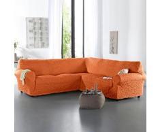Housse gaufrée bi-extensible canapé d'angle - terracotta
