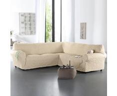 Housse gaufrée bi-extensible canapé d'angle - naturel